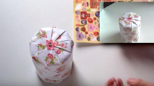 Cách gói quà bằng giấy hình trụ mẫu 2 6